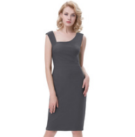 ROSALIE Gray Pencil Pinup Dress