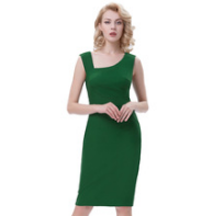 ROSALIE Green Pencil Pinup Dress