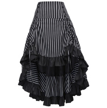 Steampunk Black Stripe Bustle Skirt