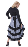 Steampunk Blue Stripe Bustle Skirt
