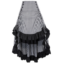 Steampunk Gray Stripe Bustle Skirt