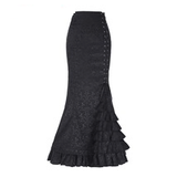 Steampunk Victorian-Style Black Mermaid Skirt