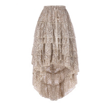 Steampunk Beige Lace Ruffled Skirt