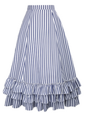 Steampunk Blue & White Stripes Bustle Skirt