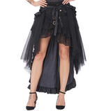 Steampunk Black Open Cinched Skirt