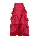 Steampunk Red High-Low Ruffled Skirt