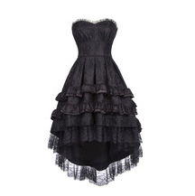 Steampunk Black Strapless Dovetail Dress