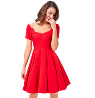 VIVIAN Red Sweetheart Scalloped Dress