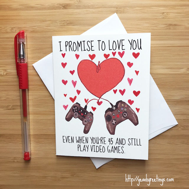 Cute 'Vow to Love You' Gamer Love Card