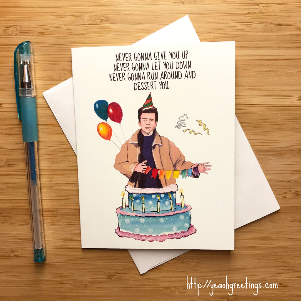 Rick Astley Rickroll Birthday Card