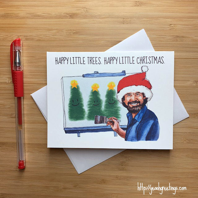 Bob Ross Christmas Card