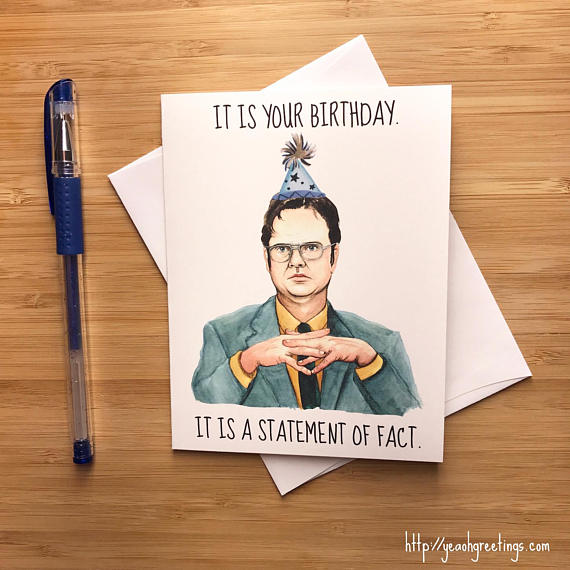graphic relating to Dwight Schrute Id Badge Printable titled business office birthday playing cards -
