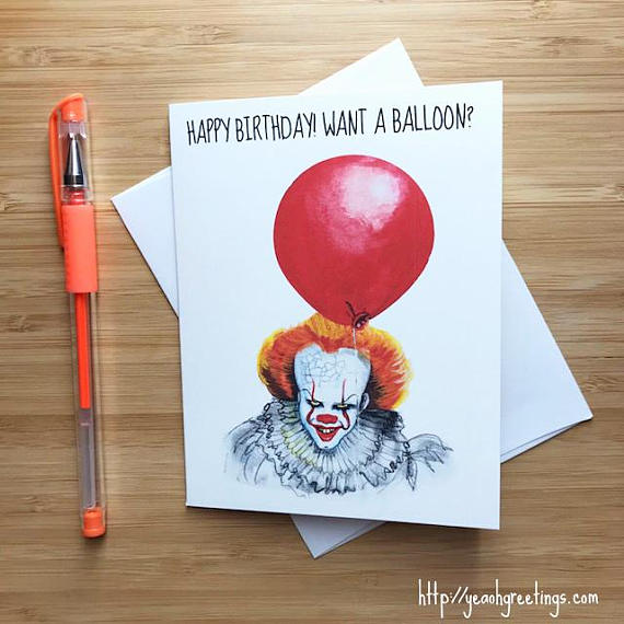 IT pennywise Birthday Greeting Card