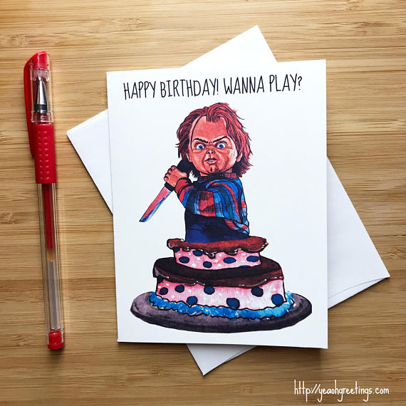 Chucky Childs play Birthday Greeting Card