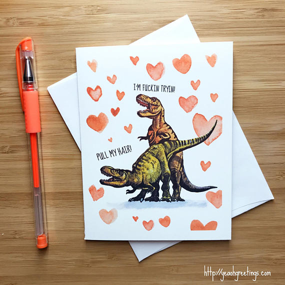 Funny T-Rex Love Card