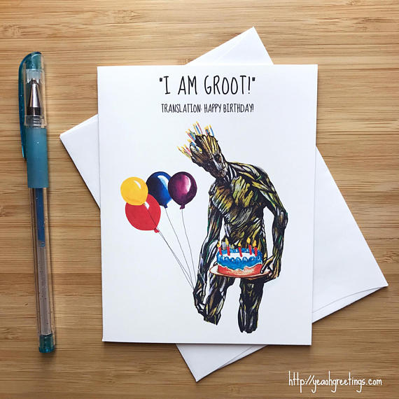 groot guardians Birthday Greeting Card