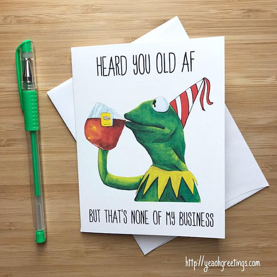 Kermit Meme Birthday Greeting Card