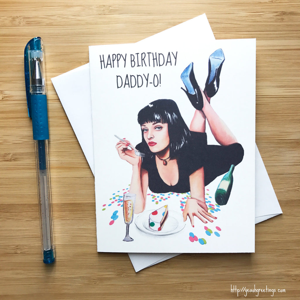 Pulp Fiction Mia Wallace Birthday Card