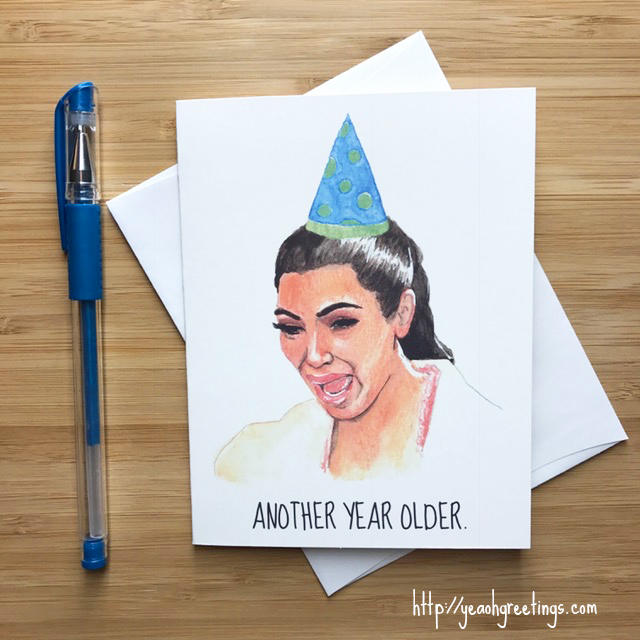 Kim K crying meme Birthday Greeting Card