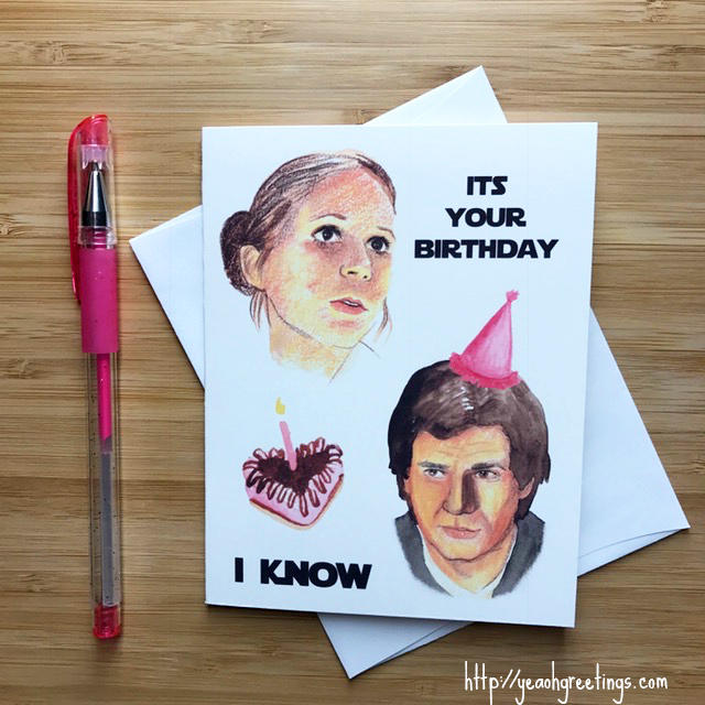 Star Wars Leia Han Solo Birthday Card