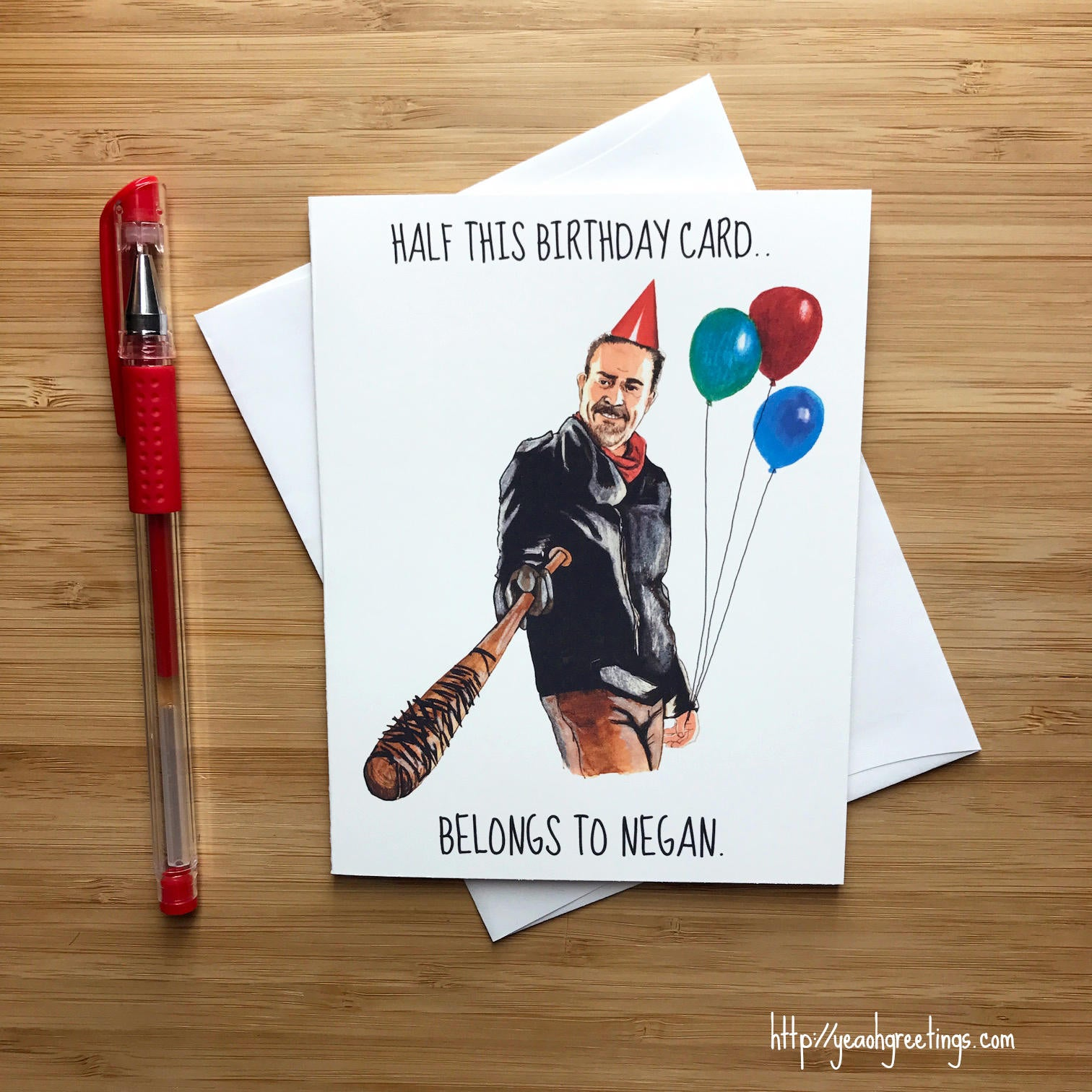Negan birthday card walking dead zombie apocalypse zombie gift negan walking dead birthday card m4hsunfo