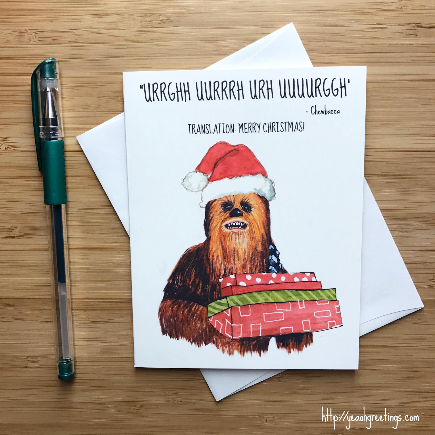 Chewbacca Christmas Card, Star Wars Christmas, Star Wars Gift, The ...