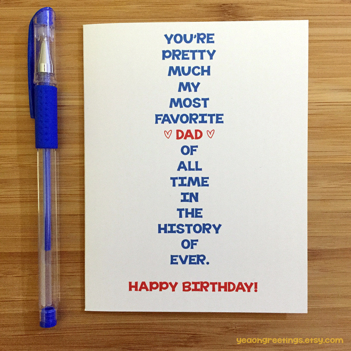 Happy Birthday Dad, Card for Dad, Funny Dad Card, Cute Card for