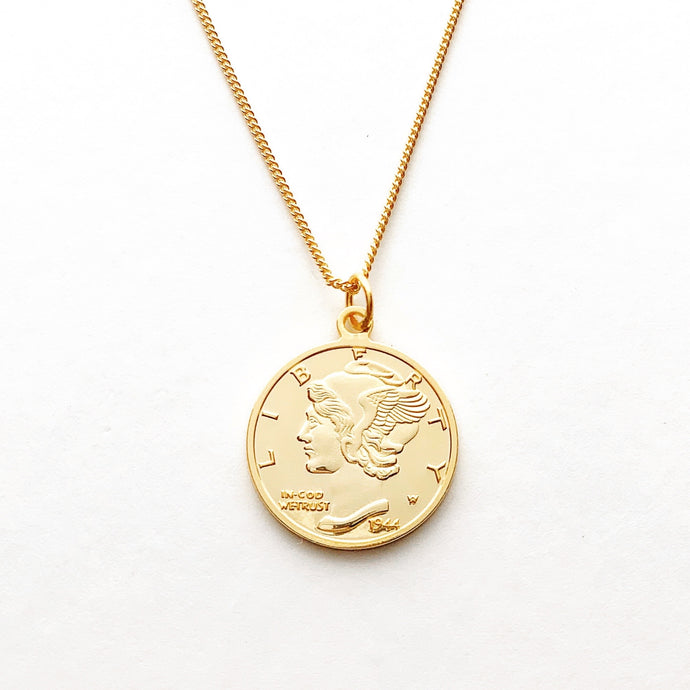 Liberty Dime Vermeil Necklace