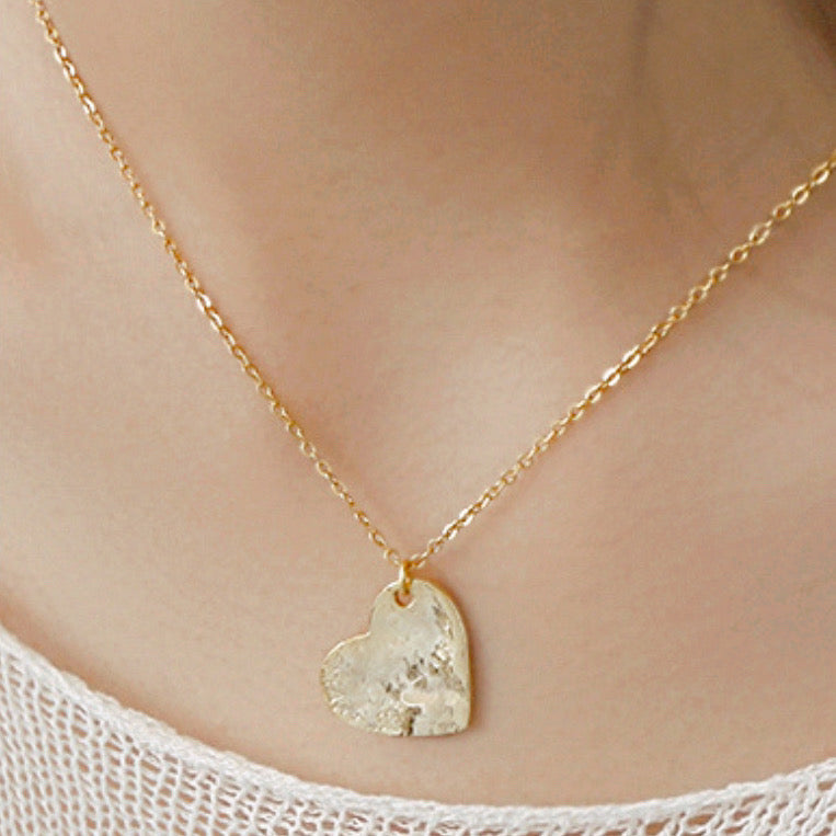 Heart Textured Vermeil Necklace