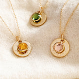 Aveline Custom Birthstone and Disc Necklace