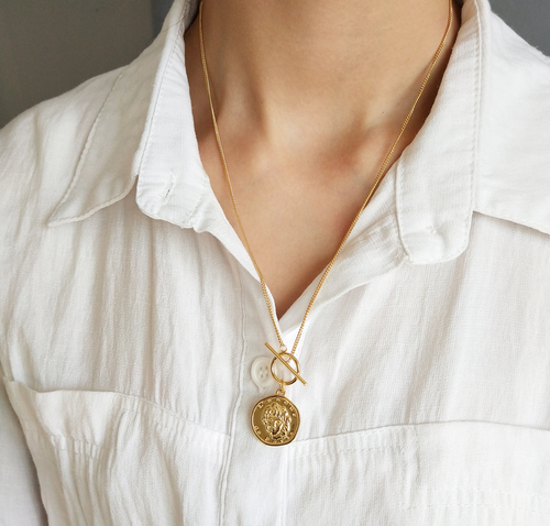 For Pre-Order Serene Gold Tone Coin Toggle Necklace
