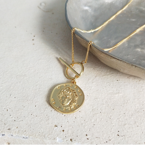 Serene Gold Tone Coin Toggle Vermeil Necklace