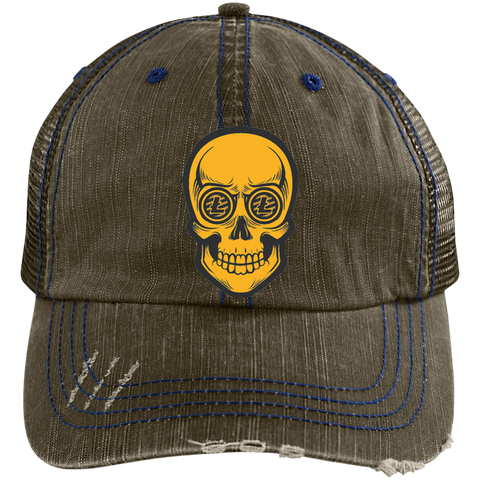 Litecoin Trucker Hat - Meshback LTC Hat Distressed
