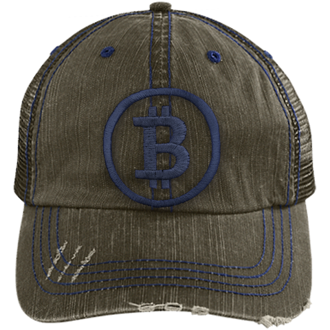 Distressed Bitcoin Trucker Cap (Navy Logo)
