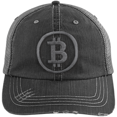 Distressed Bitcoin Trucker Hat (Grey Logo)