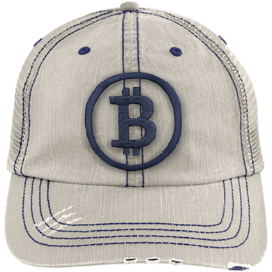 Distressed Bitcoin Trucker Hat (Navy Logo)