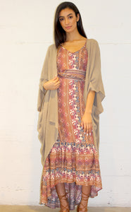 Clay Stone Wash Kimon Robe by Daughters of Culture