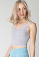V Neck Ribbed Crop Top