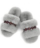 Grey Bohemian Fluff Slippers + Memory Foam