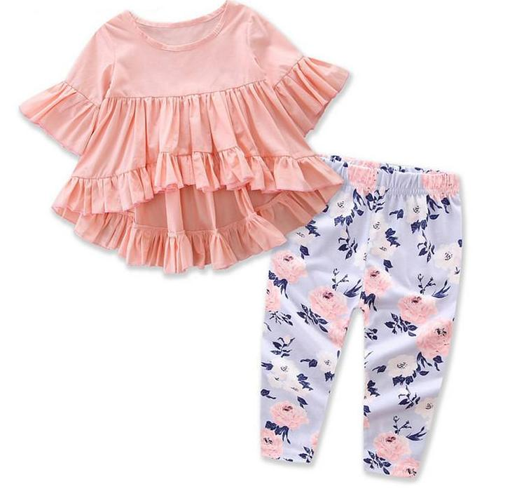 2pc Peach Rose Set With Ruffle Hem. A cute and sassy 2 piece set  - perfect for a casual day out on the town. Toddler girl clothes. Platinum Babies Store