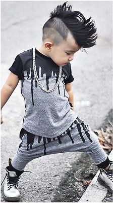 2pc Black and Gray Fashion Forward Set for Boys