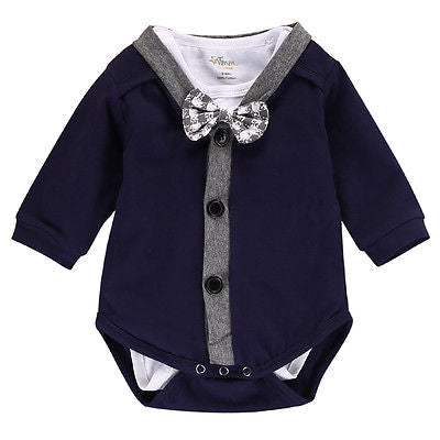 Incredibly adorable 2pc cardigan onesie. Perfect for those times when little man needs to dress up just a bit. Baby boy clothes. Platinum Babies Store