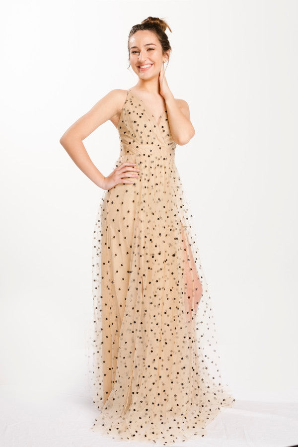 Beige Polka Dot Sheer Maxi Dress