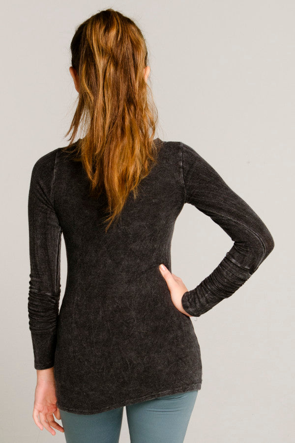 Black Long Sleeve Mineral Wash Sweater