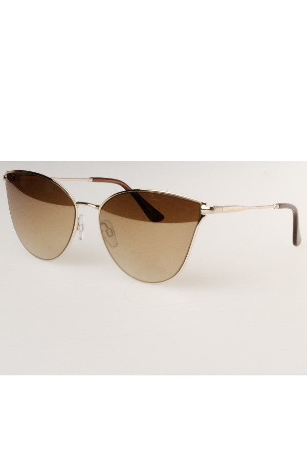 Gold Cat eye Mirrored Sunglasses Gold Lens