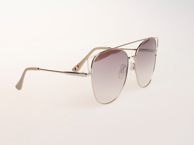 Silver Cat Eye Mirrored Sunglasses Silver Lens