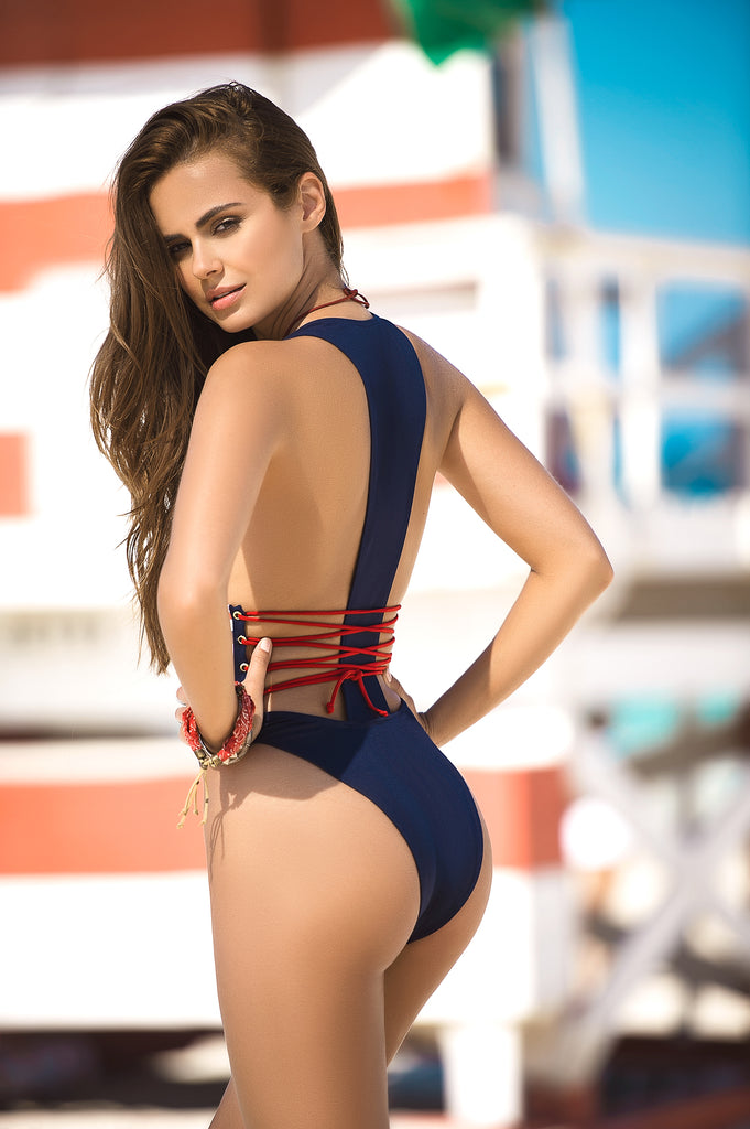 Navy, Red & White Stripe Print One Piece Swimsuit