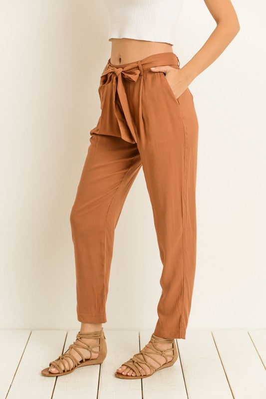 Rust Belted Waist Tie Trousers