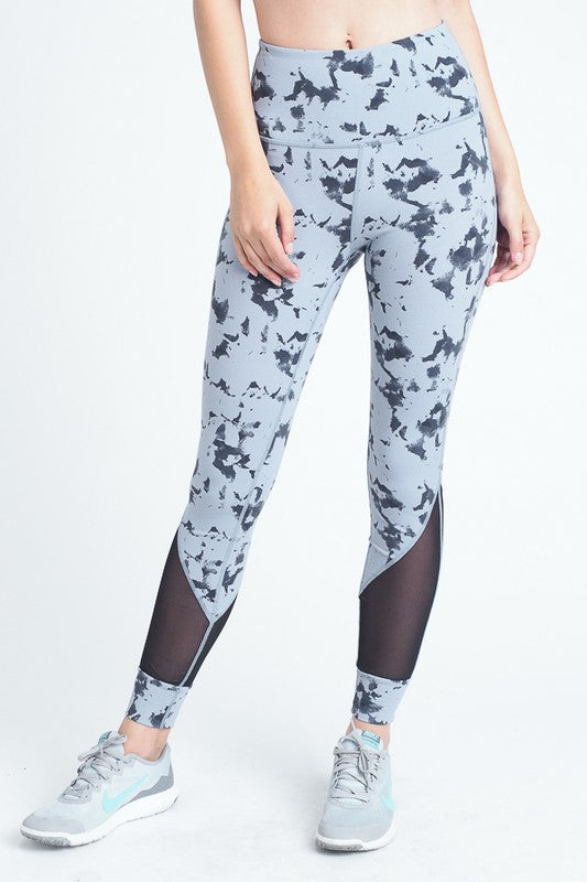 Blue Cloud Print Mesh Panel High Waist Full Leggings