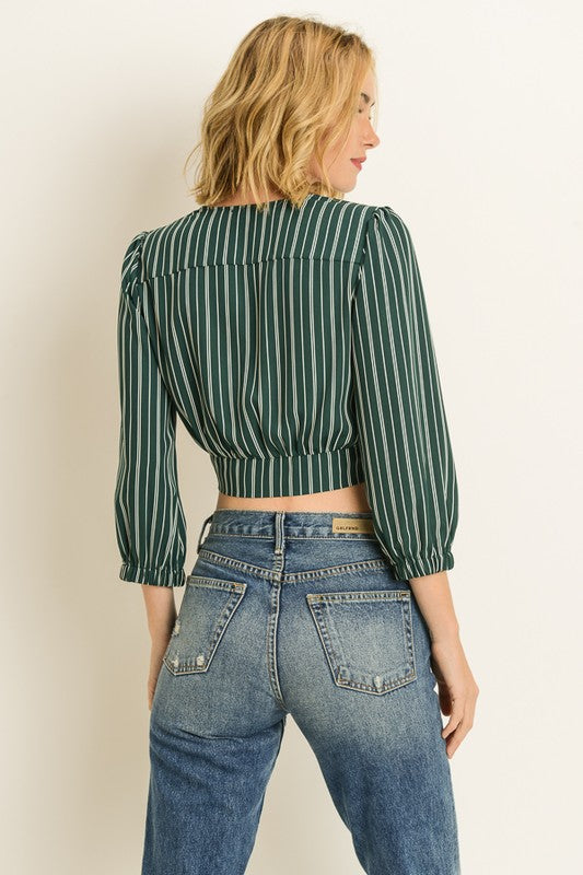 Green Striped Wrap Crop Top